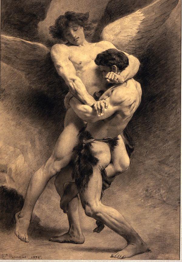 Jacob Wrestling with the Angel by Léon Bonnat(1833–1922)