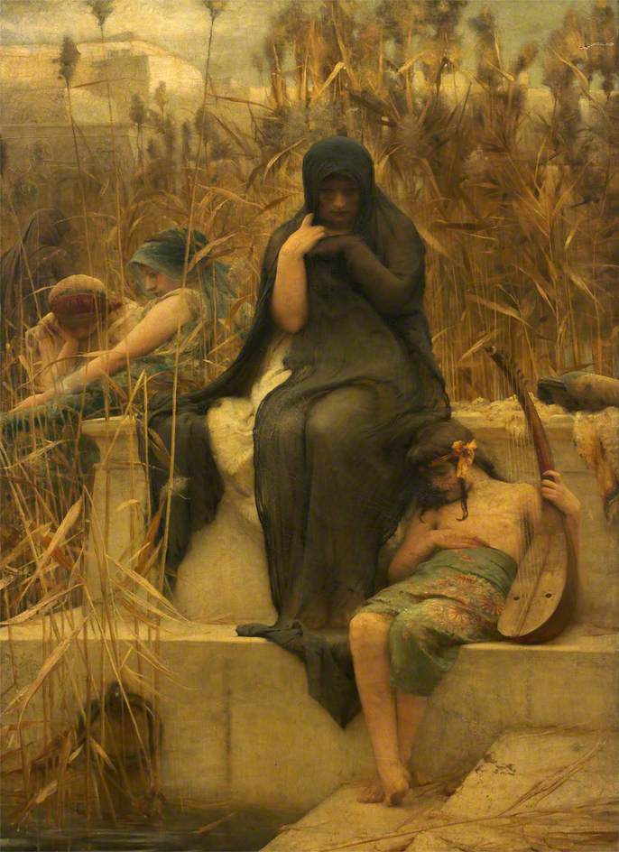 By the Waters of Babylon, painting by Arthur Hacker, c.1888
